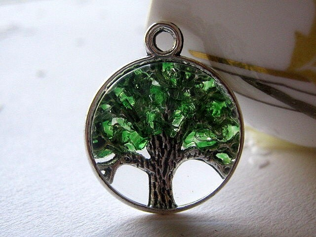Glass Emerald Necklace Tree Of Life Tree Of Life Jewelry