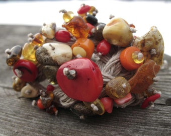 Wearable Art Jewelry Raw Baltic Amber Red Coral Bracelet Cuff Macrame Avant Garde Linen Statement OOAK Fiber Art