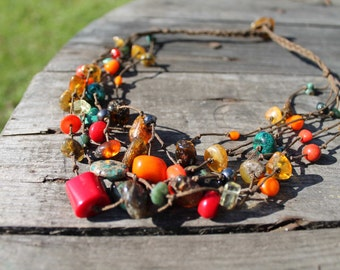 Colorful Necklace Summer Jewelry Frida Mexican Raw Gemstone Turquoise Chunky Amber Yellow Orange Blue Teal Green Brown Multistrand