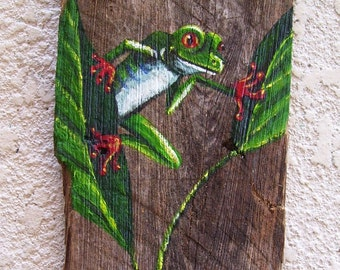 Green Tree Frog on Reclaimed Fence Board Plaque Hand Painted Wall Hanging