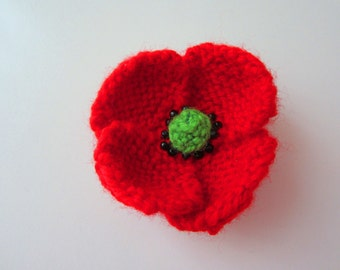 Knitting Pattern Red Poppy : Popular items for knitted flower on Etsy