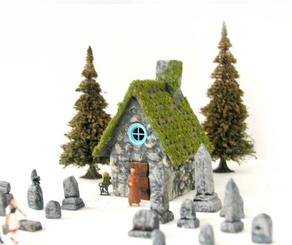 The Hermitage Cemetery and Caretakers Cottage -  Handmade Miniature Countryside Village Gravestones and Cottage - HO Scale