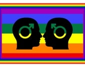 GAY PRIDE FLAG with two  men   hand made gay themed greeting  card