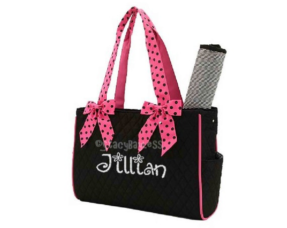Diaper Bag in Black and Pink Polka Dot - Personalized with your choice of colors and fonts - Same Day Shipping