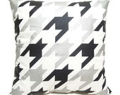 "New-Houndstooth Pillow Cover-black and silver printed in white cotton-19""(50CM)"