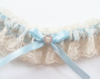 Wedding Garter in Lace and Blue Ribbon - The GINA Garter - Now also available in white lace and light ivory lace