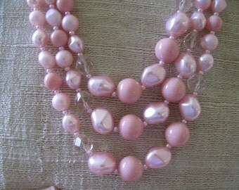 Pastel Pink 3 Strand Vintage Beads from Japan Mid Century Estate Jewelry