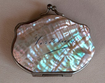 Antique Engraved Abalone Shell Coin Purse
