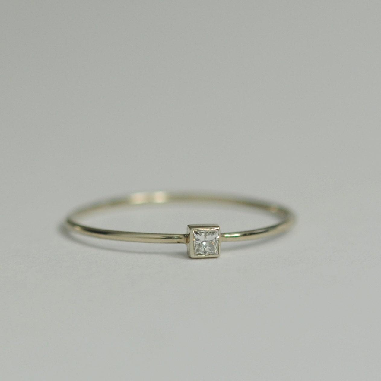 Diamond Engagement Ring 05 Carat Square Diamond 2mm By Bellaflor