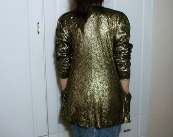 Long Sleeve Vintage Gold Jacket 80s Metallic Glam Hipster Party sparkly jacket