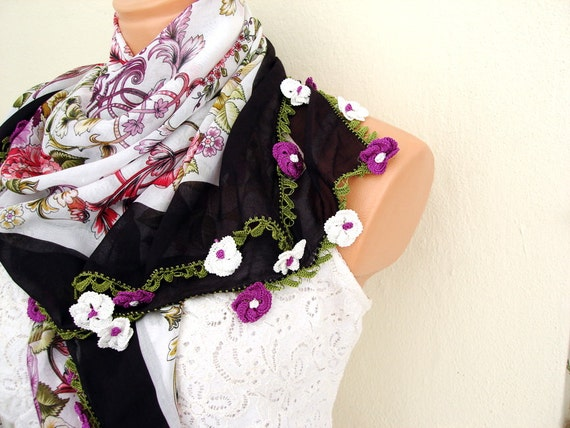 White and purple Floral Cotton Fabric Scarf Shawl Crochet Lace edge Women accessorie everyday