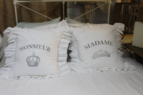 Shabby Chic Pillows On Etsy : Items similar to Set of Pillows Shabby Chic The Monsieur and Madame Ruffle Pillow Set on Etsy