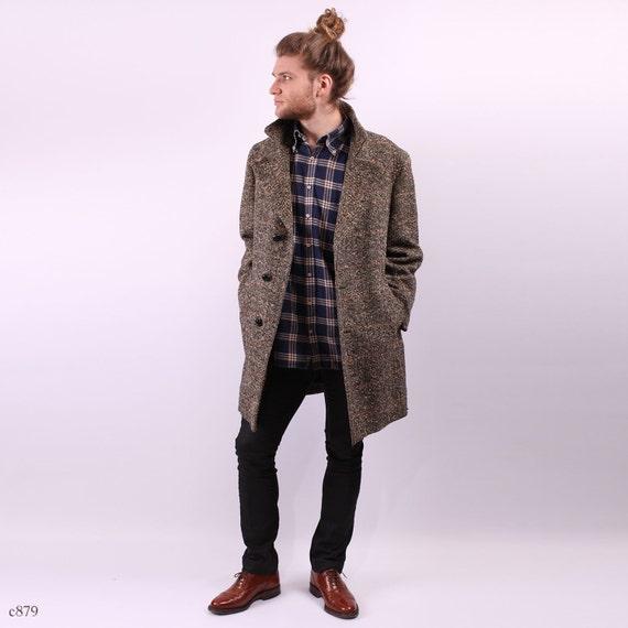Mens Coat / Tweed Wool Coat / sz Medium to Large