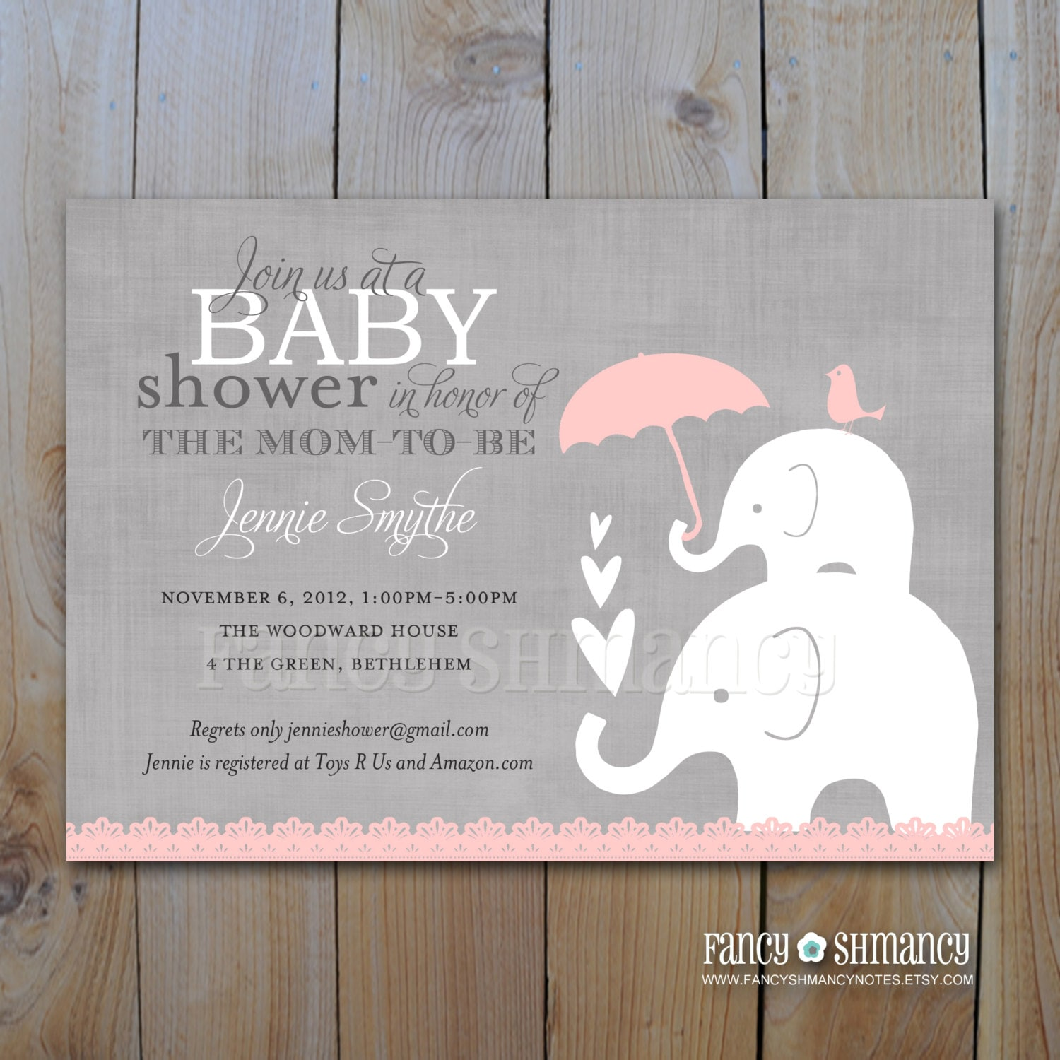 Pink and Grey Girl Elephant Baby Shower Invitation Printable