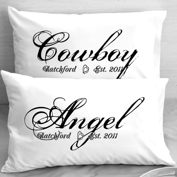Cowboy Wedding Gifts: Cowboy And Angel Personalized Pillow Cases Pillowcases