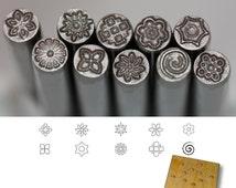 BIJ-877, Precision Design Metal Punch Stamps 10 pieces Set, Size 5.0mm Various Floral Shapes