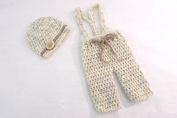 READY TO SHIP Newborn Drawstring Pants with Suspenders and Matching Hat