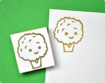 Cute broccoli hand carved rubber stamp. Rubber stamp. Handmade stamp. Picnic stamp