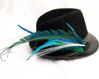 LIGHT UP Peacock Sword Feather Hair or Hat Clip Fascinator - w Glowby Fiberoptic Light, Turquoise, Teal and Green Feathers. Hat NOT Included
