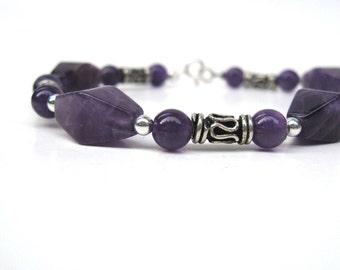 Amethyst bracelet with bali sterling silver, Purple bracelet, Silver bracelet