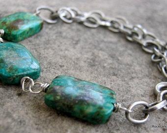 Malin.......Antiqued  Multi strand African Turquoise Gemstone bracelet