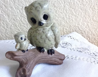 Darling Ceramic Owls on a Branch