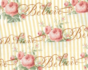 """BELIEVE hand stamped pink yellow shabby cottage chic ribbon Muslin 2.75"""" wide  c857 . ....oohlala"""