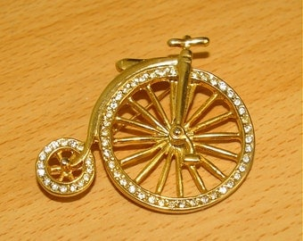 Vintage Tricycle Brooch Gold Tone with Clear Shiny Rhinestones  1970's 1980's