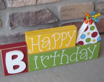 HAPPY BIRTHDAY BLOCKS with birthday hat for table decor, desk, shelf, mantle, and party decor