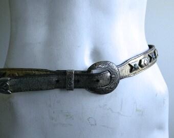 vintage. NAVAJO  Metallic Silver Belt // Waist Belt // 29 to 32