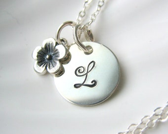 Initial & Flower Sterling Silver Charm Necklace - Hand Stamped - Personalized