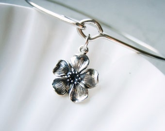 Cherry Blossom Flower Bangle Bracelet  - Spring - Sterling Silver Bangle
