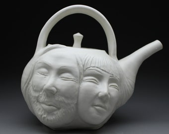 Lovers Teapot, Face Pot Sculpture, Bas Relief Figurine, Porcelain Art Pottery Couple Kissing the Hand, Functional Serving Vessel