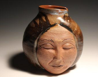 Face Vase Buddha Head Sculpture Vessel Open Mind Ikebana Pot, Round Storage Jar Figure Art