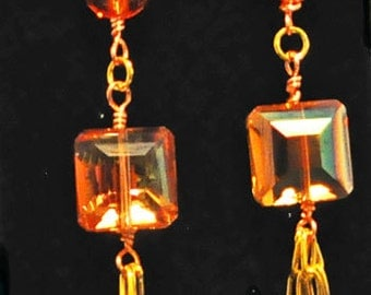 Apricot to orange crystal and chain dangle earrings