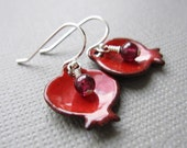 Pomegranate Earrings Red Enamel Garnet Sterling Silver Judaica