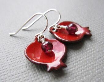 Pomegranate Earrings Red Enamel Garnet Sterling Silver Judaica