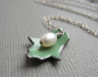 Green Enamel Hamsa Necklace White Pearl Judaica Sterling Silver