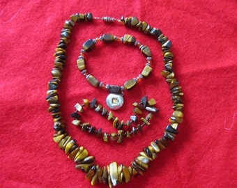 Tiger eye necklace and 2 matching stretch tiger eye bracelets