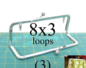 3 nickel-free 8x3 purse frame kisslock with loops