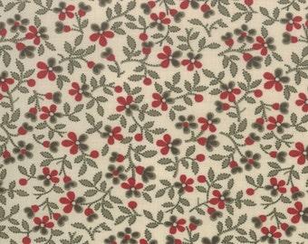 ESPRIT DE NOEL Moda shabby quilt fabric French General Christmas Kaari Meng pearl red floral calico 1 yard 13644-14