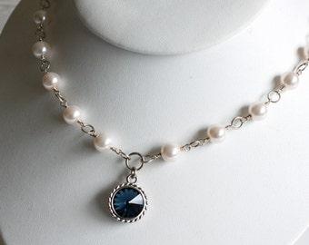 Swarovski Rivoli Crystal Pendant, Pink Pearls Necklace, Made to Order, Rivoli and Pearls Necklace