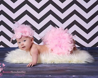 Pink Feather Couture Satin Bloomers & Headband Set Newborn Infant Girl  Spring Easter Valentine  photo session prop Diaper Cover