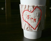 Personalized carved tree love cup cozy.