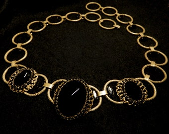 VINTAGE belt or necllace, perfect BLACK stones and goldtone