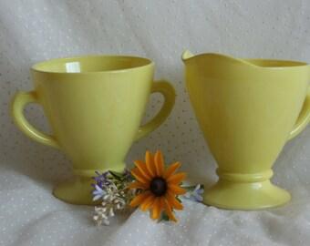 Hazel Atlas Ovide Creamer and Sugar in Yellow
