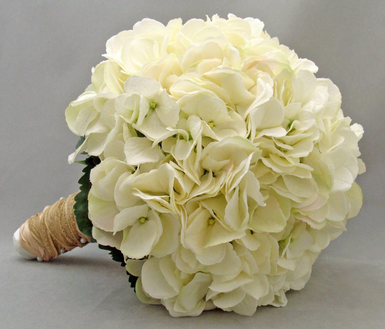 Bridal Bouquets With White Hydrangeas : Bridal bouquet white silk hydrangea groom s boutonniere