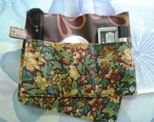 27 inch / 8 pockets Purse / Bag Organizer Insert - (Large) Brown peacock swirl and wild flowers print  Pockets