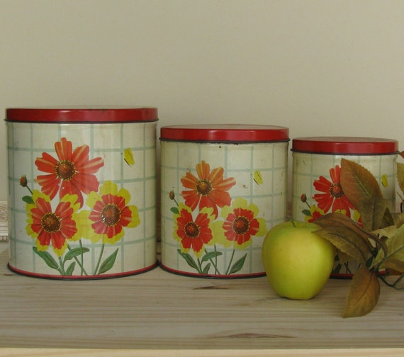 vintage canister set kitchen decor housewares by thewillies