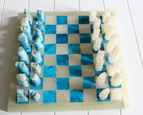 Vintage Blue And White Marble Chess Set